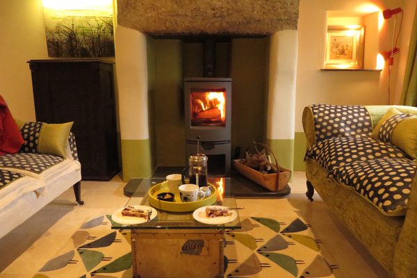 Cosy lounge with log burner